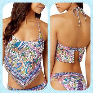 Trina Turk Halter Handkerchief Tankini Swimsuit